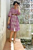pink dress - deep purple handmade cotton purse - ruby red leather belt