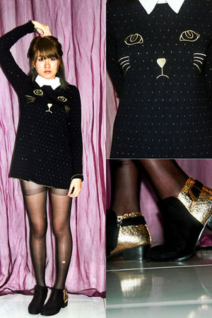 suede 2 toned boots - kitty knitted dress