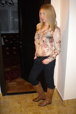 light yellow Zara blouse - black Bershka jeans - burnt orange Aldo boots