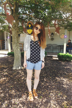 light blue Delias shorts - black H&M top - silver Urban Outfitters cardigan