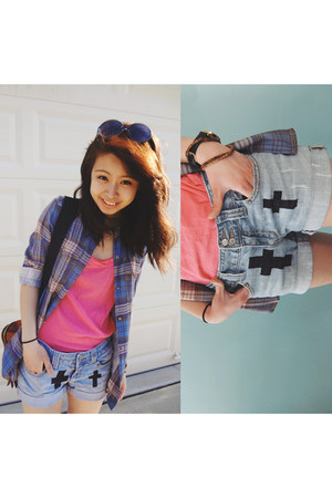 pink J Crew shirt - sky blue DIY denim shorts