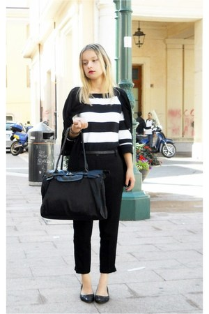 black H&M cardigan - stripes Casablanca sweater