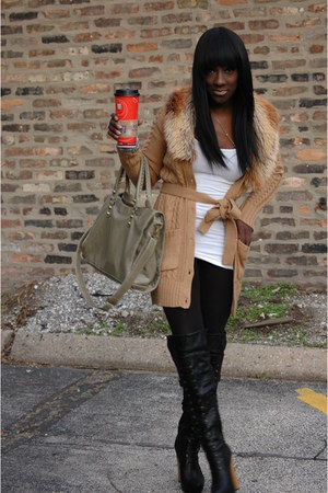 black Bakers boots - camel H&M sweater - black H&M leggings