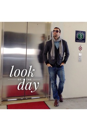 blue Old Navy jeans - sky blue Club Room shirt - black Chor cardigan