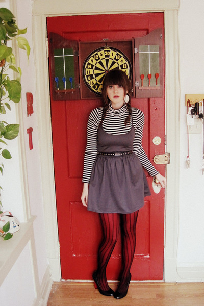 gray Urban Outfitters dress - black vintage belt - black Macys tights - white Fo