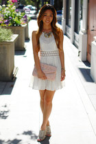 Aldo bag - free people dress - hinge heels - Aldo necklace
