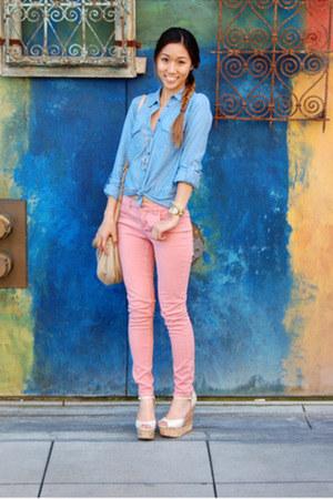 Topshop top - harper mid-rise JBrand jeans - natasha Marc by Marc Jacobs bag