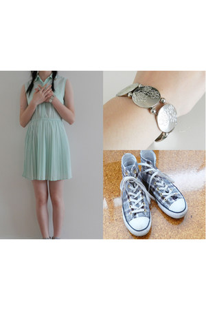 aquamarine maxim dress - white plaid high rise Converse sneakers