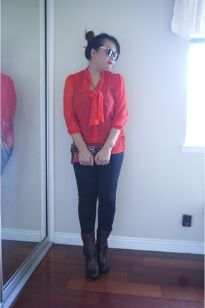 red red button Forever21 blouse - brick red maroon buckle Clarks boots