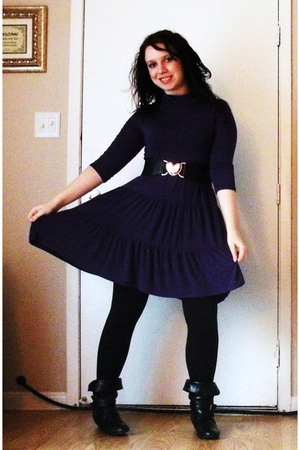 purple Macys dress - black leggings - black Charming Charlie boots - black Rue 2