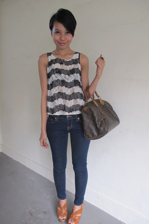 Topshop top - J Brand jeans - Louis Vuitton bag - Charles & Keith heels