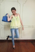 blue Tomato bag - light blue denim Penshoppe pants
