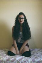 black tights - crimson shorts - ivory blouse