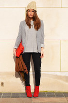 red H&M boots - periwinkle Topshop t-shirt