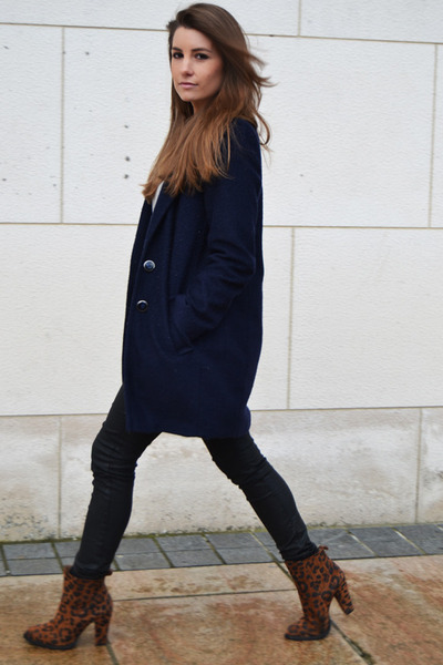 dark brown Zara boots - navy Penneys coat - black Zara pants