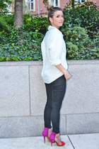 red Zara sandals - light blue Forever 21 shirt - black Topshop pants