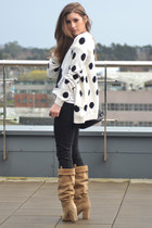 white Pull and Bear cardigan - camel Zara boots - black Forever 21 jeans