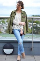 sky blue Zara jeans - olive green Zara jacket - light pink Primark flats