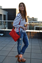 red Zara bag - blue Zara jeans - bronze Zara sandals