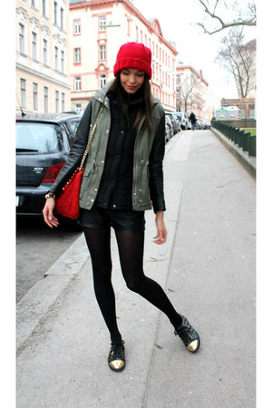 red DIY hat - army green H&M jacket - black Zara shorts