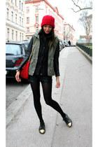 red DIY hat - army green H&M jacket - black Zara shorts