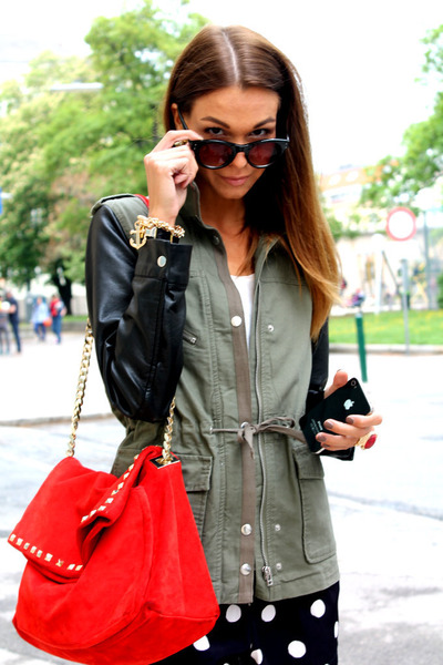 white Forever21 shorts - navy Forever21 shorts - army green H&M jacket