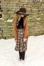 burnt orange wool plaid thrifted skirt - black le chateau boots