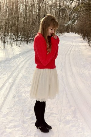 red thrifted sweater - white Gap skirt - black winners heels