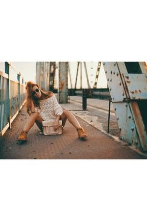 Mango sweater - Timberland boots - satchel bag - Zara shorts - Persol sunglasses