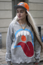 Grey tongue print Jersey Jumper