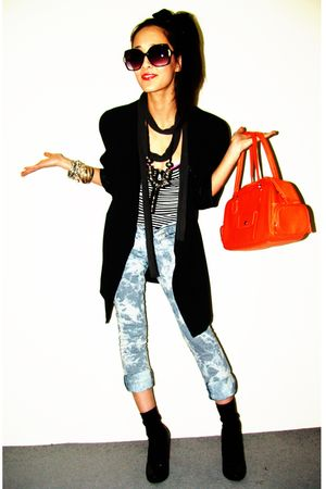 Novo shoes - Forever 21 jeans - black mothers closet blazer - Prada bag