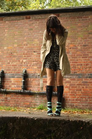 blue asos shoes - black socks - beige coat - gray Topshop