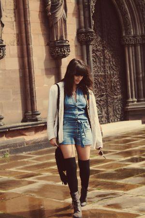 black Topshop bag - vintage cardigan - gray boots - blue Topshop dress - black V