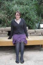 black St Johns Bay cardigan - purple merona dress - tights - Soda shoes