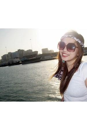 summer Topshop earrings - white top H&M shirt - jeans Zara shorts