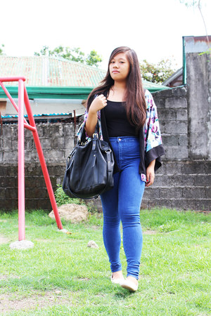 floral kimono Folded and Hung blazer - blue joni jeans Topshop jeans