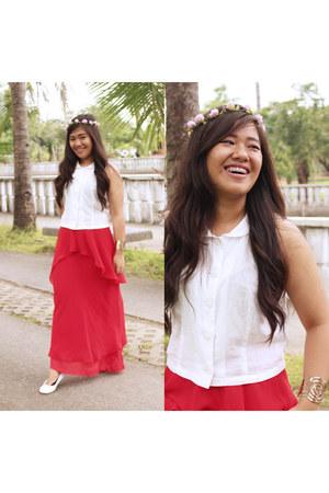 red maxi skirt SM skirt - white Forever 21 top