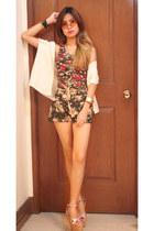 Forever 21 dress - floral shorts - vintage glasses