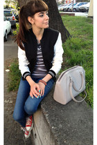 black jennyfer jacket - blue jennyfer jeans - heather gray H&M sweater