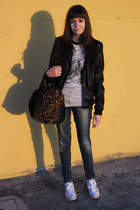 black leather jacket Pimkie jacket - blue Bershka jeans