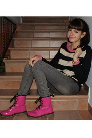 striped Alcott sweater - Alcott boots - Terranova jeans - Stradivarius bracelet