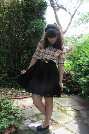 yellow Old Navy shirt - blue vintage belt - black Gap skirt - gray Ebay shoes