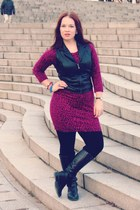 black riding DSW boots - magenta sweater clothing swap dress