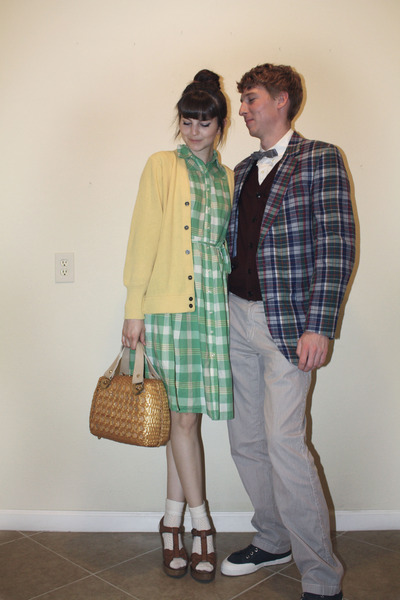 chartreuse plaid merona dress - bronze thrifted vintage purse