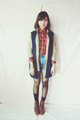 Ruby-red-plaid-vintage-shirt-denim-diy-shorts-navy-vintage-vest