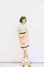 Beige-lace-accent-shirt-salmon-thrift-store-skirt-adorable-projects-clogs