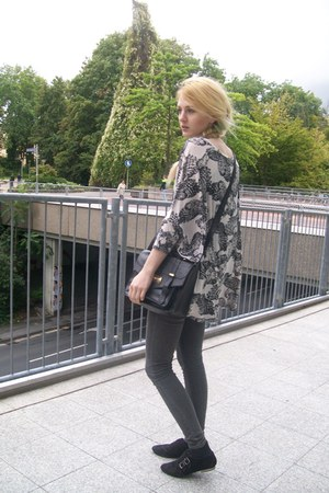 grey skinny Primark jeans - satchel Primark bag - Topshop top - Primark flats