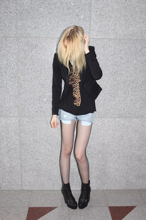 fishnet c&a tights - platform Topshop boots - black H&M blazer