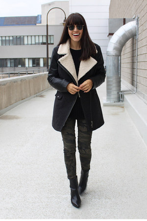 leather Zara boots - shearling danier coat - camouflage Bluenotes pants