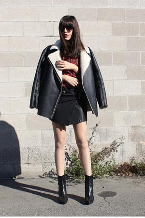 moto Forever 21 skirt - black platform Zara boots - asos coat